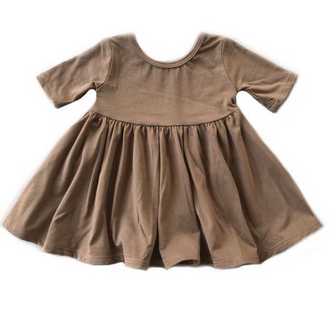 Cocoa Three Quarter Sleeve Twirly Dress