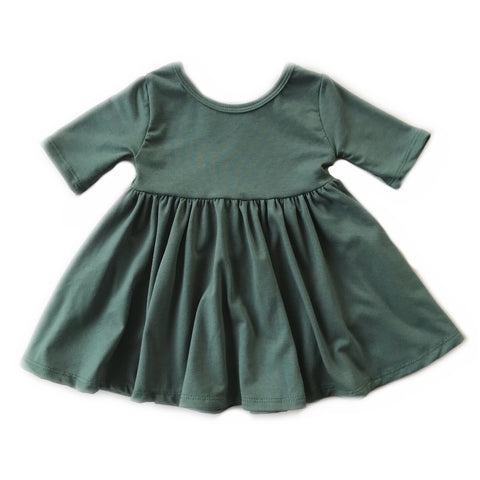 Pine Three Quarter Sleeve Twirly Dress