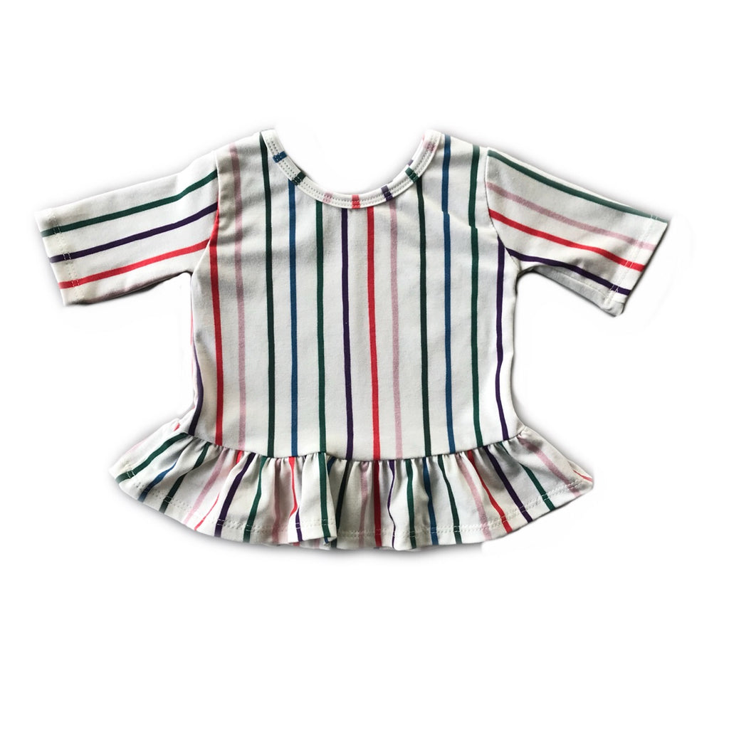 Jewel Stripe Three Quarter Sleeve Peplum Top