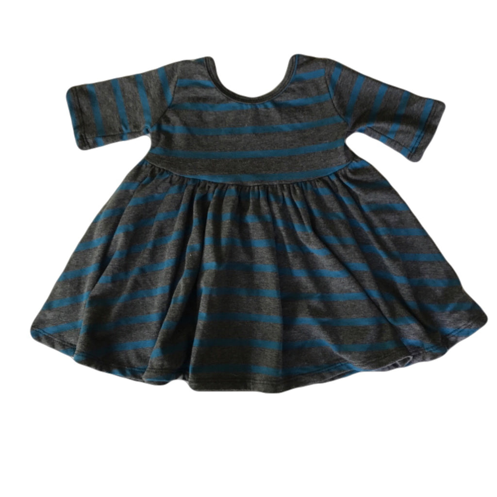 Charcoal and Pacific Stripe Three Quarter Sleeve Twirly Dress