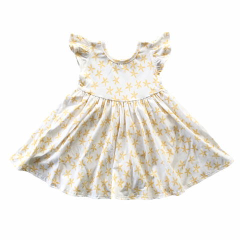 Golden Daisy Flutter Sleeve Twirly Dress