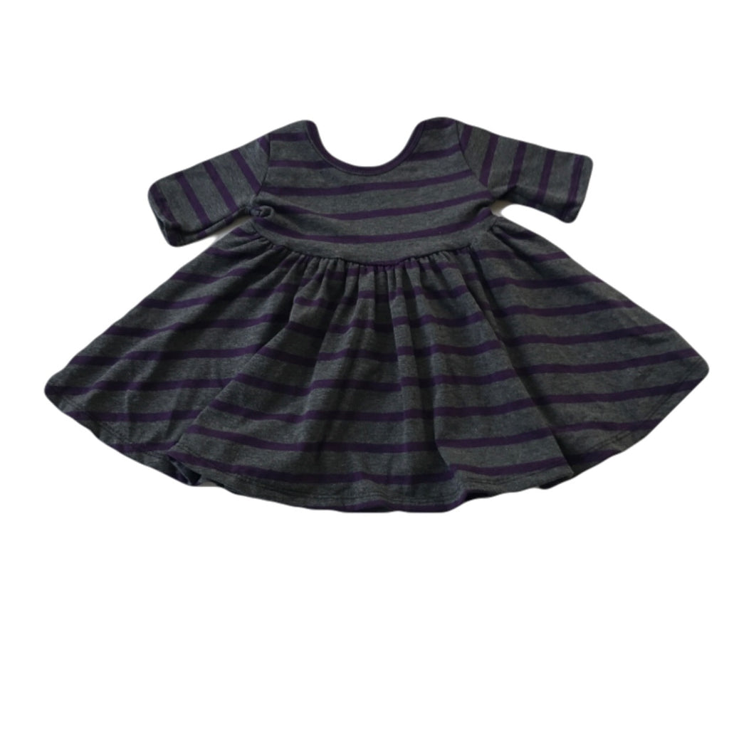 Charcoal and Plum Stripe Three Quarter Sleeve Twirly Dress