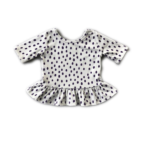 Eggplant Dot Three Quarter Sleeve Peplum Top