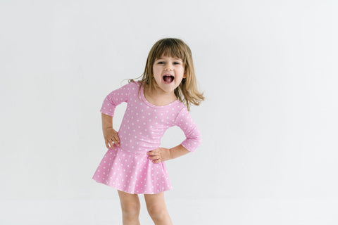 Darling Dots Three Quarter Sleeve Bamboo Leotard