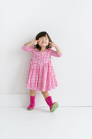 PREORDER Poppy Plaid Three Quarter Sleeve Twirly Dress