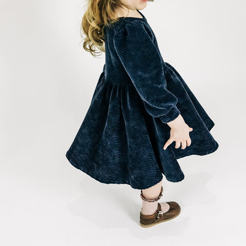Navy Stretch Corduroy Puff Sleeve Twirly Dress