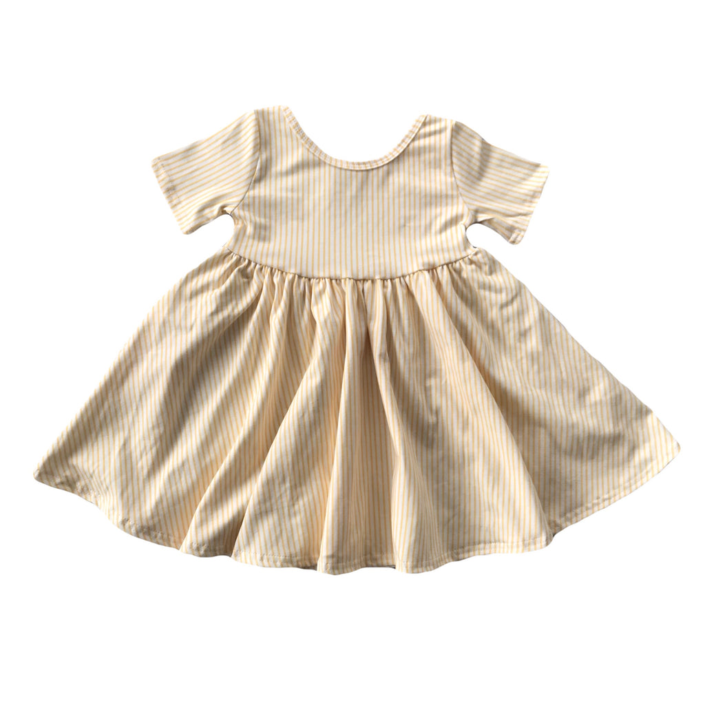 Golden Stripe Short Sleeve Twirly Dress