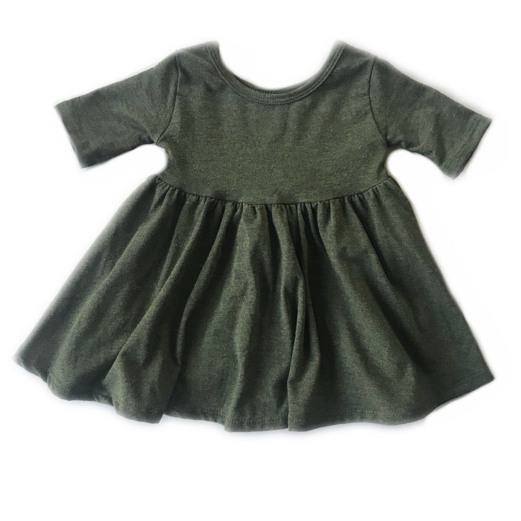 Heathered Forest Three Quarter Sleeve Twirly Dress
