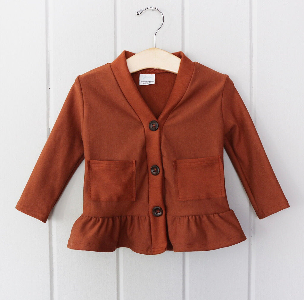 Toffee Bamboo Fleece Peplum Cardigan