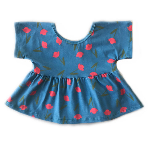 Poppy Blue Spruce Floral Swing Top
