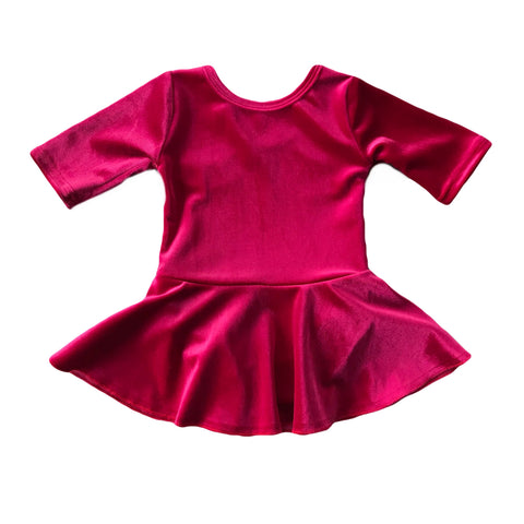 Magenta Velvet Skirted Leotard