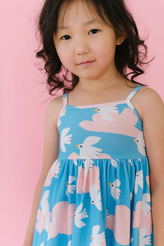 PREORDER Flying Flock in Azure Blue Twirly Dress