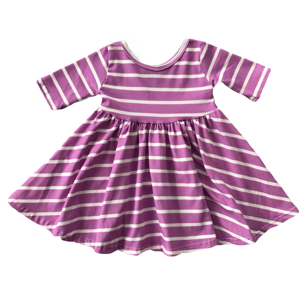 Orchid with White Stripe Three Quarter Sleeve Twirly Dress
