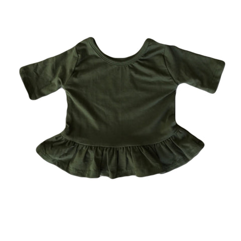 Moss Three Quarter Sleeve Peplum Top