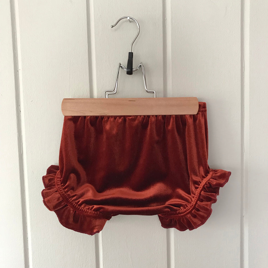 Copper Velvet Ruffle Bloomers