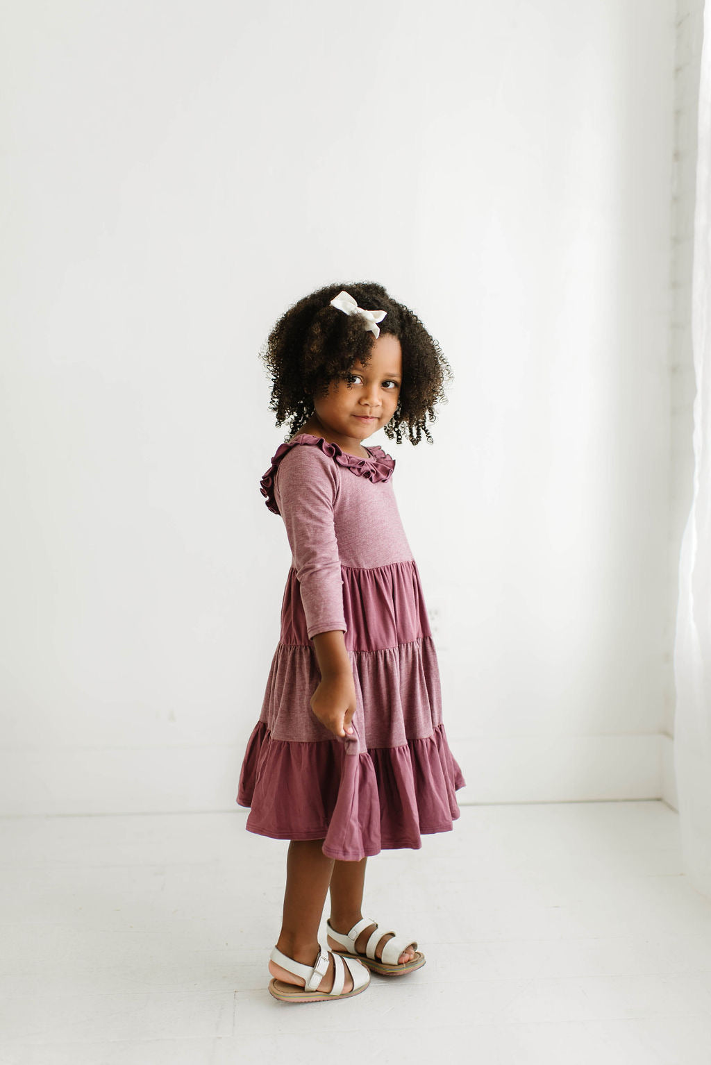 Colorblock Rosewood Three Quarter Sleeve Tiered Twirly Dress