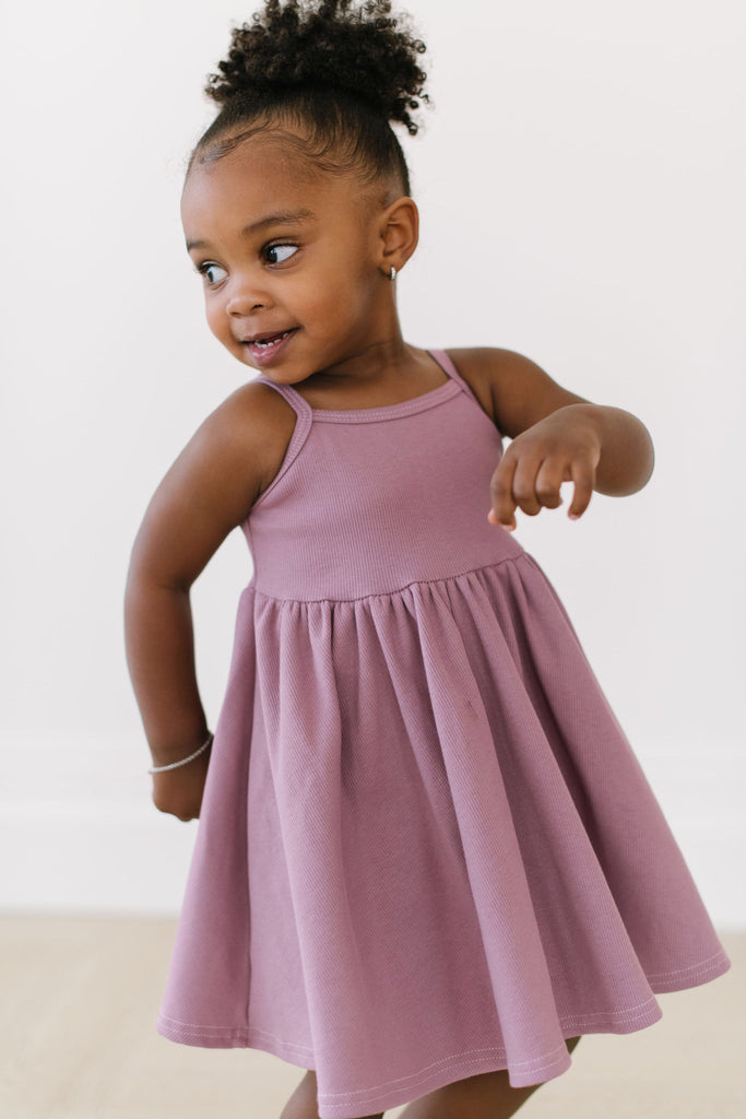 Elderberry Organic Cotton Rib Twirly Dress