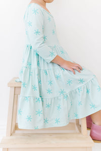 Luna Stars Three Tier Three Quarter Sleeve Twirly Dress