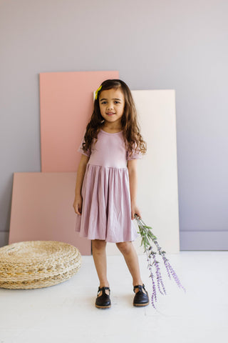 Mauve Mist Ribbed Modal Knit Short Sleeve Twirly Dress