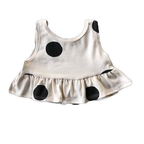 Black Dot Crop Peplum Tank