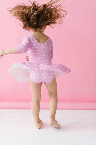 Darling Dots Three Quarter Sleeve Bamboo Skirted Leotard