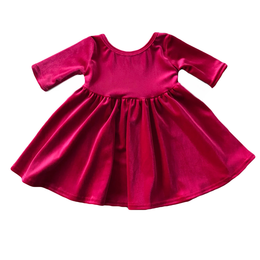 Magenta Velvet Three Quarter Sleeve Twirly Dress