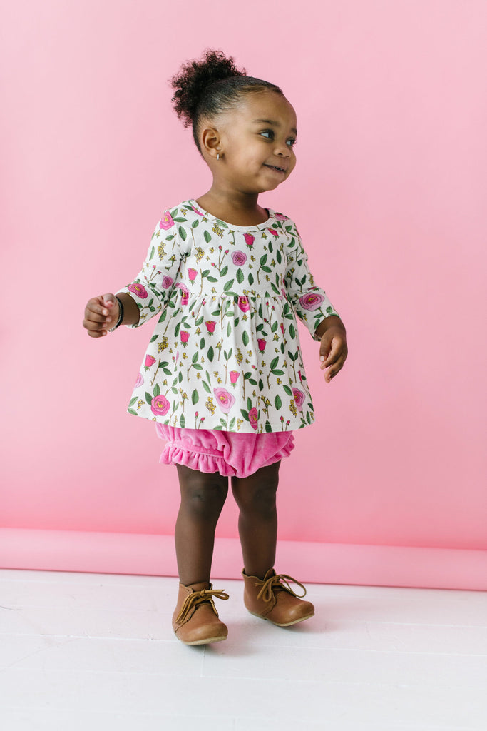 Perfect Pink Bamboo Velour Ruffle Bloomers