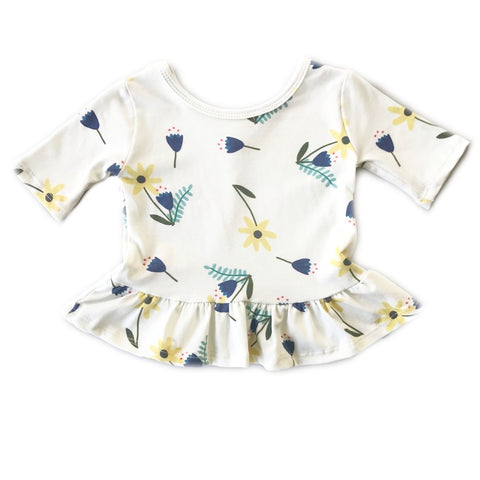 Light Autumn Floral Three Quarter Sleeve Peplum Top