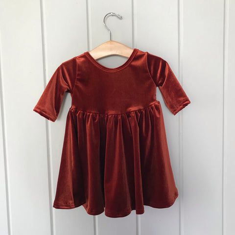 Copper Velvet Three Quarter Sleeve Twirly Dress