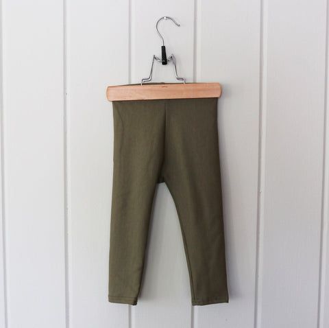 Olive Bamboo Fleece Leggings