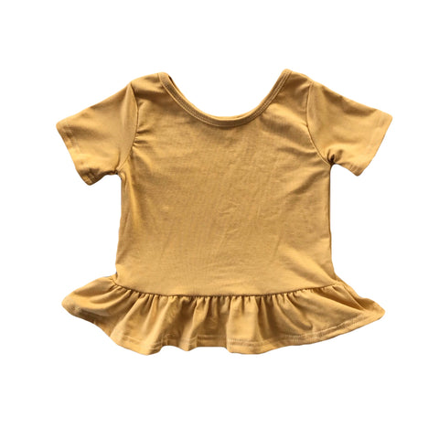 Golden Short Sleeve Peplum Top