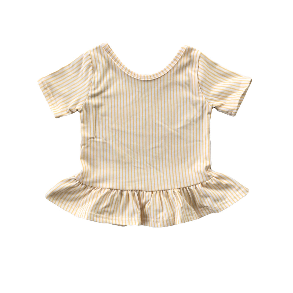 Golden Stripe Short Sleeve Peplum Top