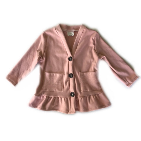 Dusty Pink Fleece Peplum Cardigan