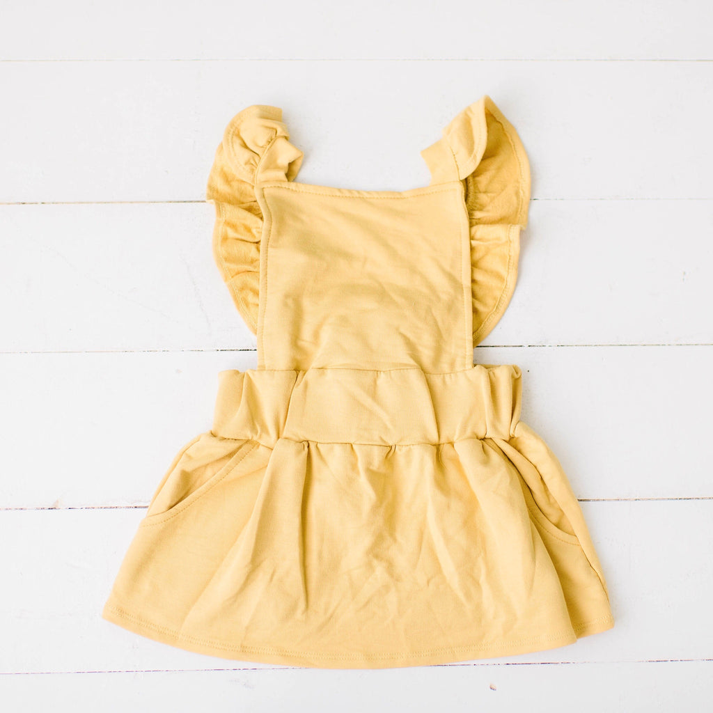 Ruffle Strap Pocket Pinafore in Golden