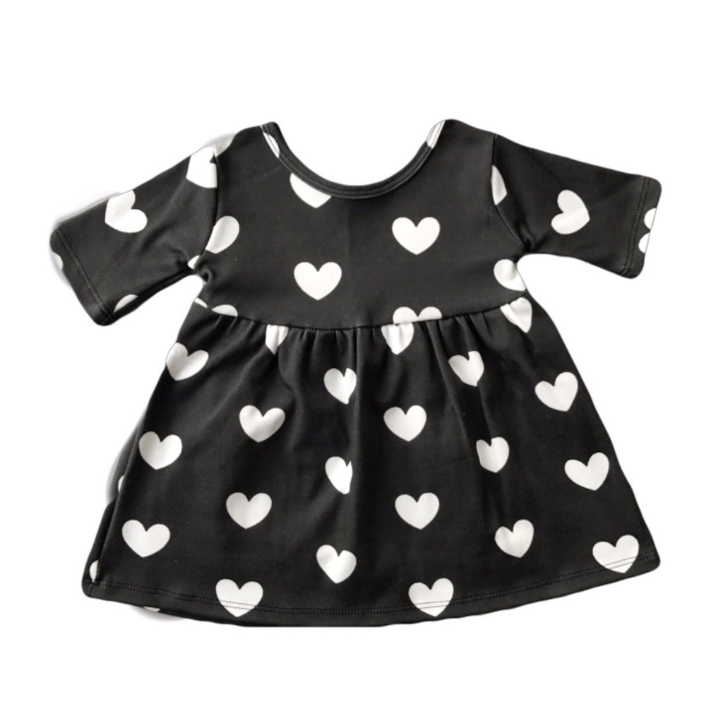 Black with White Hearts Three Quarter Sleeve Swing Dress