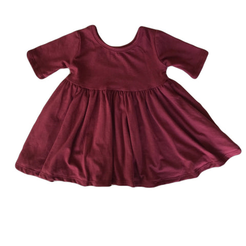 Mulberry Three Quarter Sleeve Twirly Dress