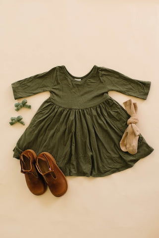 Olive Three Quarter Sleeve Twirly Dress