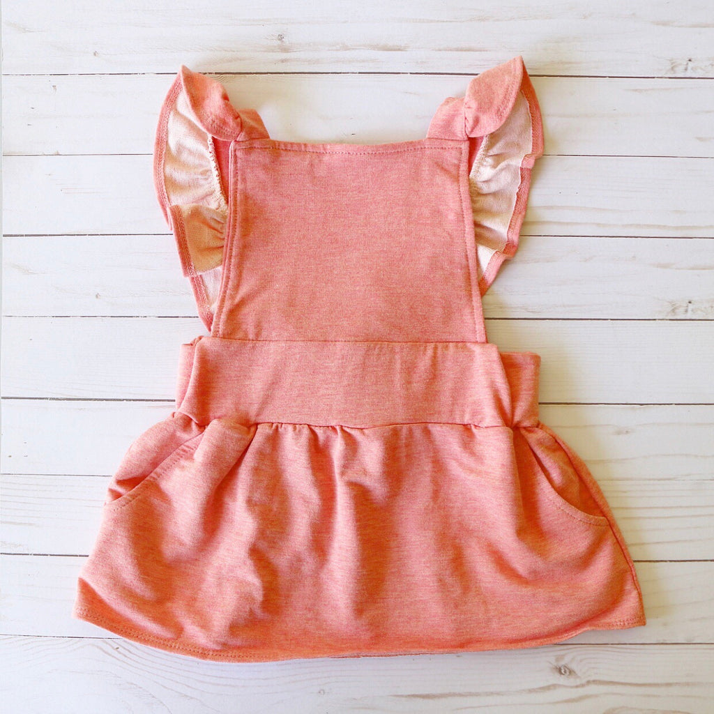 Ruffle Strap Pocket Pinafore in Heathered Peach