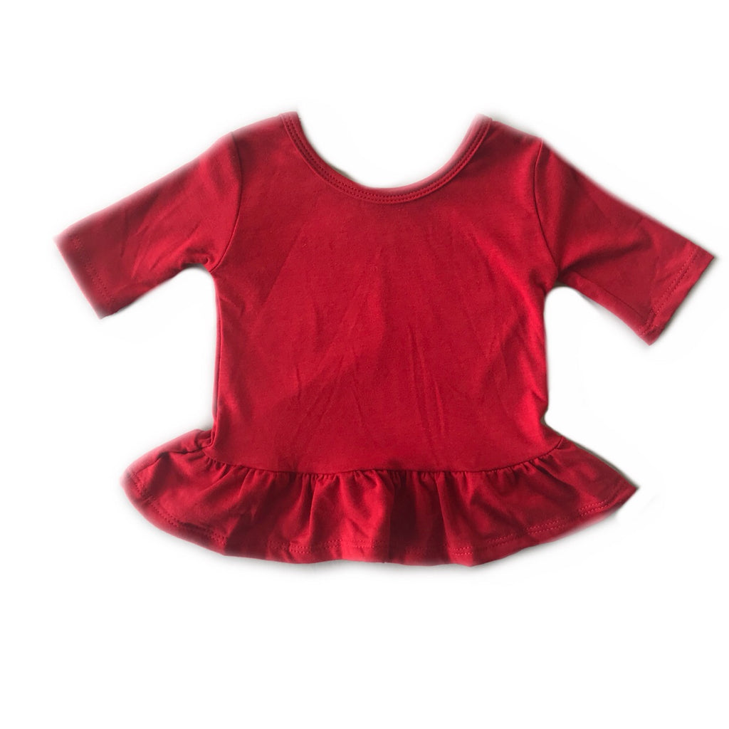 Cherry Three Quarter Sleeve Peplum Top
