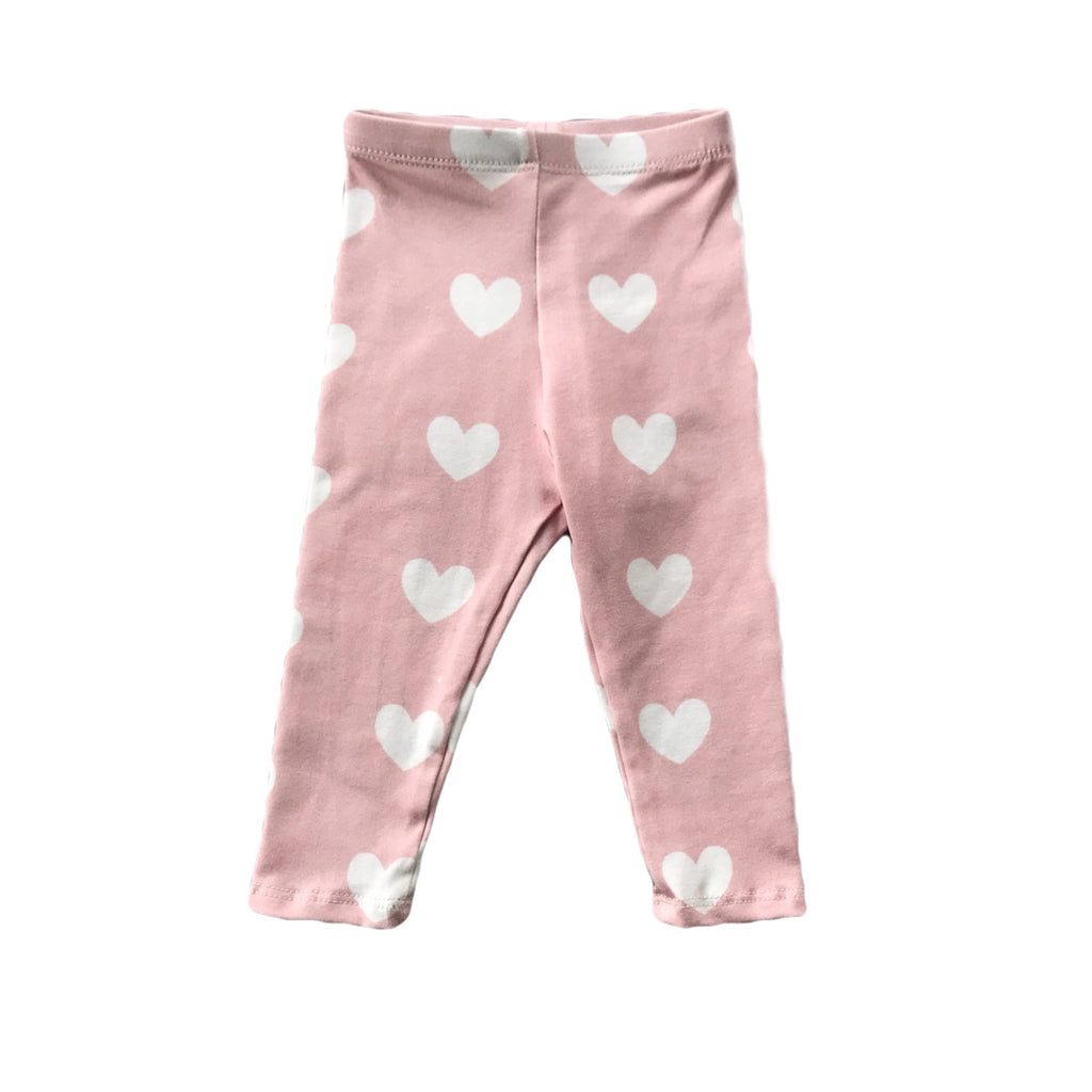 Dusty Pink with White Heart Leggings
