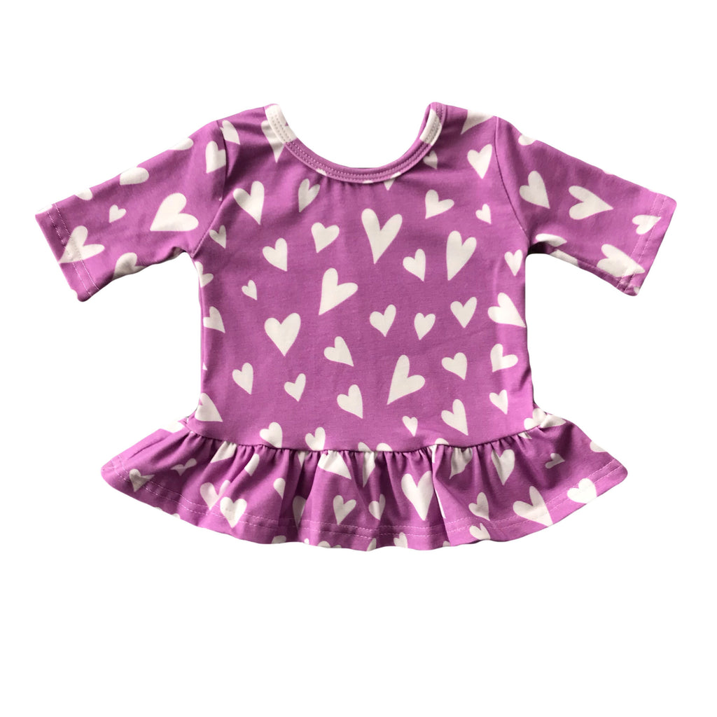Orchid with White Heart Three Quarter Sleeve Peplum Top