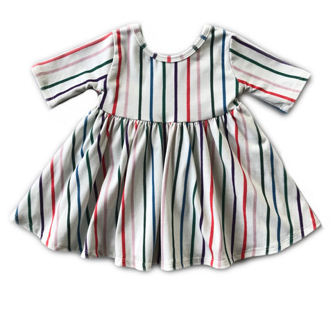 Jewel Stripe Three Quarter Sleeve Twirly Dress
