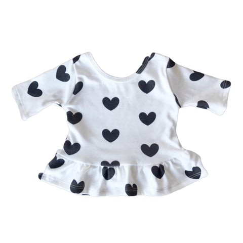White with Black Hearts Three Quarter Sleeve Peplum Top