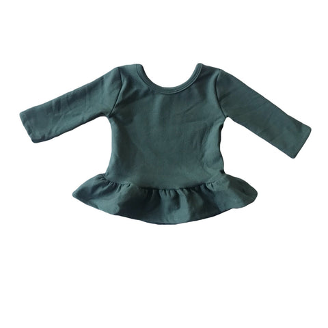 Pine Fleece Peplum Top