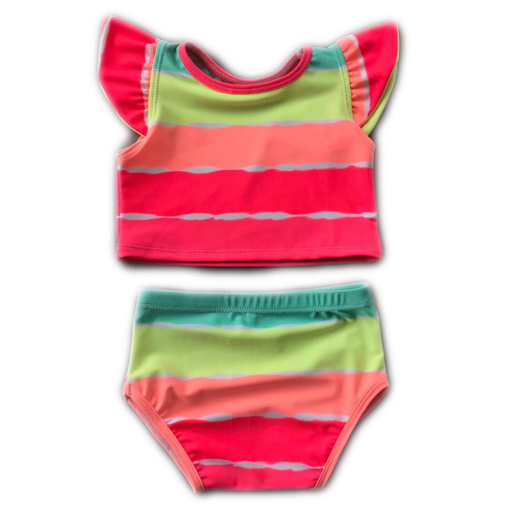 Neon Stripe (colors will vary) Flutter Sleeve Bathing Suit