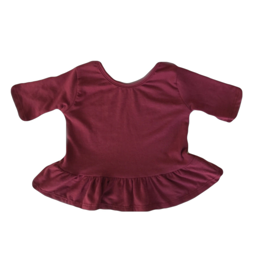 Mulberry Three Quarter Sleeve Peplum Top