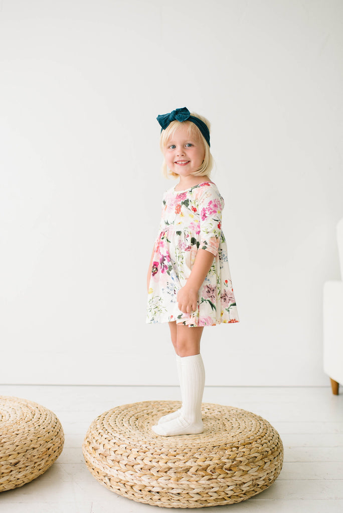 Watercolor Wildflower Three Quarter Sleeve Twirly Dress