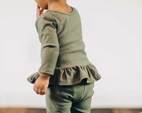 Olive Bamboo Fleece Peplum Top