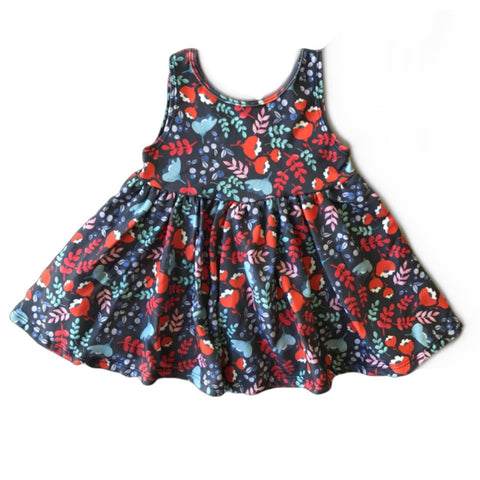 Blue Floral Tank Twirly Dress