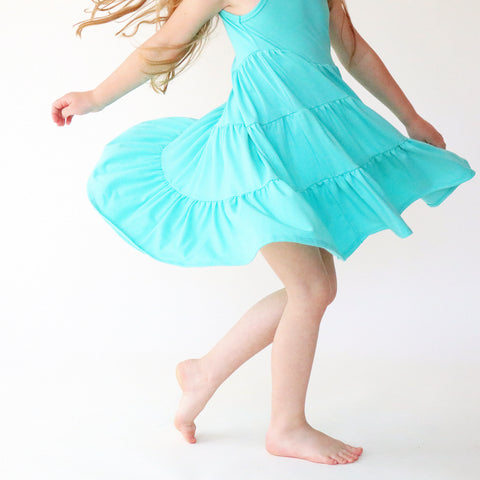 Mint Three Tier Twirly Dress